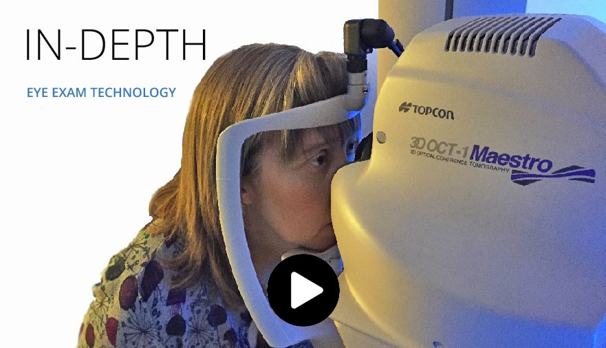 Video showing optometrist in Edinburgh using OCT scan technology in a routine eye examination